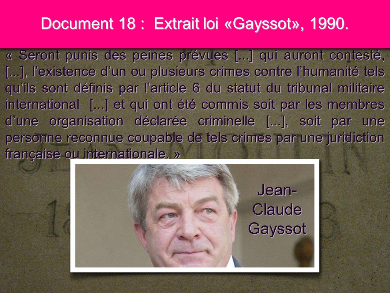Document 18 : Extrait loi «Gayssot», 1990.