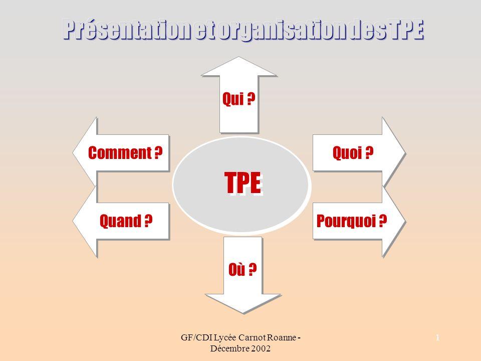 Présentation et organisation des TPE