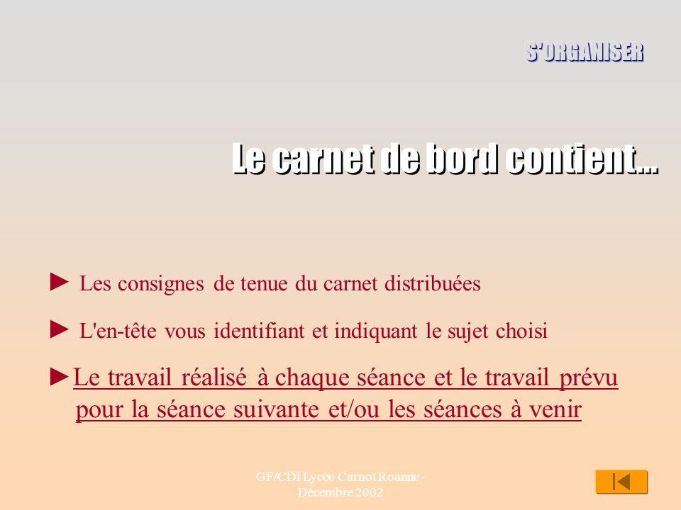 GF/CDI Lycée Carnot Roanne - Décembre 2002