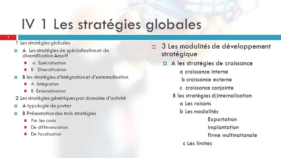IV 1 Les stratégies globales