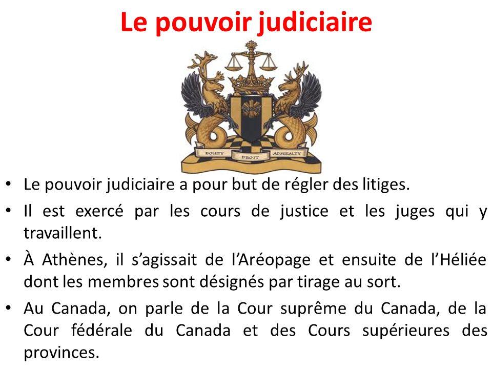 Le pouvoir judiciaire Le pouvoir judiciaire a pour but de régler des litiges. Il est exercé par les cours de justice et les juges qui y travaillent.