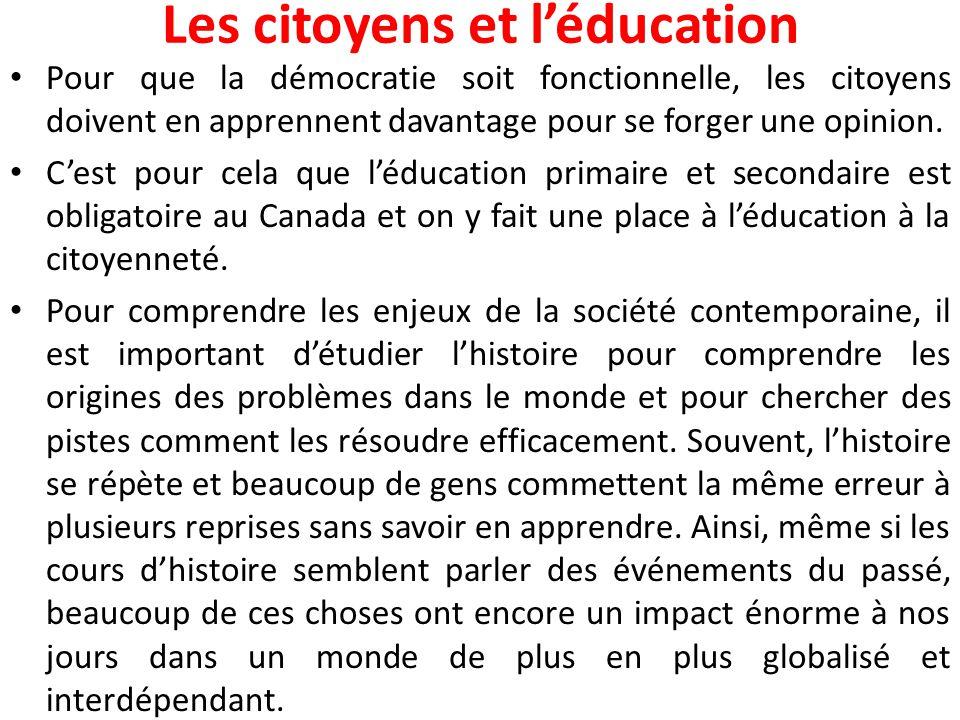 Les citoyens et l'éducation