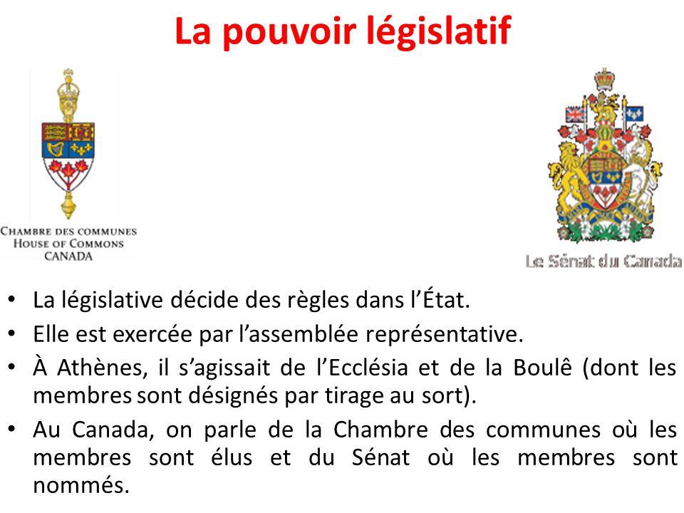 La pouvoir législatif La législative décide des règles dans l'État.