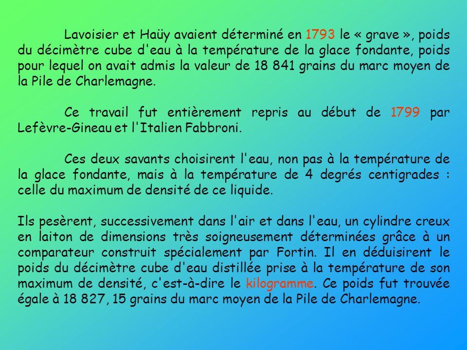 Lavoisier et Haüy avaient déterminé en 1793 le « grave », poids du décimètre cube d eau à la température de la glace fondante, poids pour lequel on avait admis la valeur de 18 841 grains du marc moyen de la Pile de Charlemagne.