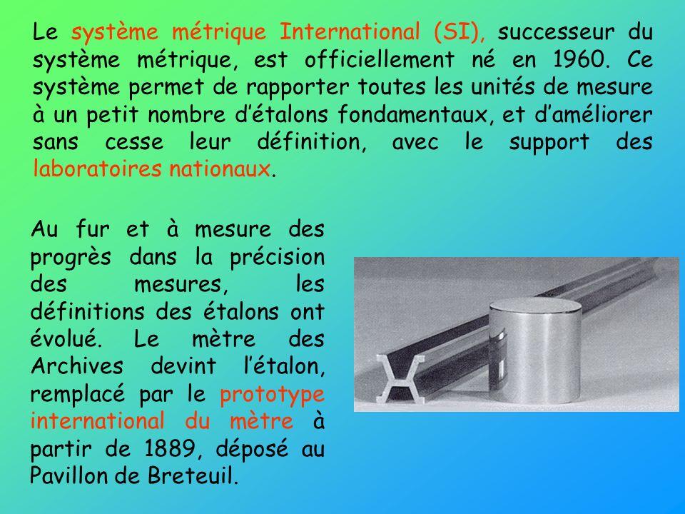 Le système métrique International (SI), successeur du système métrique, est officiellement né en 1960. Ce système permet de rapporter toutes les unités de mesure à un petit nombre d'étalons fondamentaux, et d'améliorer sans cesse leur définition, avec le support des laboratoires nationaux.