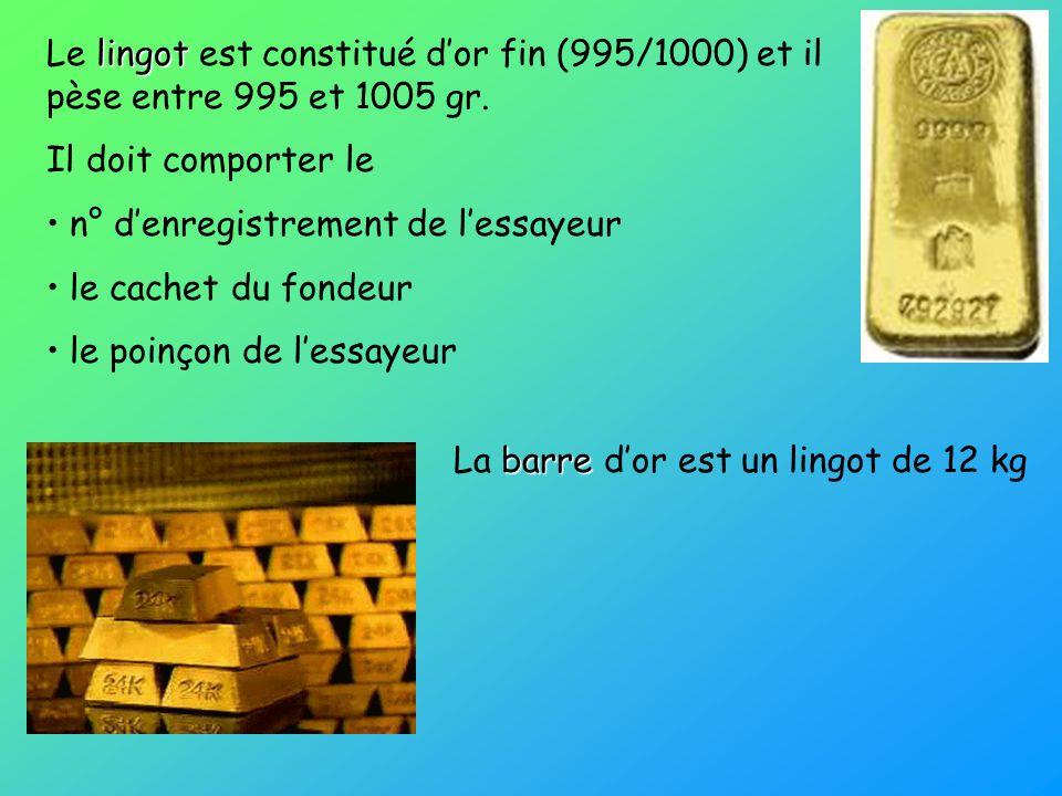Le lingot est constitué d'or fin (995/1000) et il pèse entre 995 et 1005 gr.