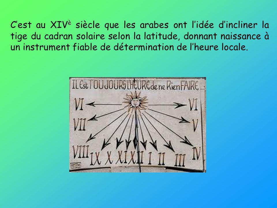 C'est au XIVè siècle que les arabes ont l'idée d'incliner la tige du cadran solaire selon la latitude, donnant naissance à un instrument fiable de détermination de l'heure locale.