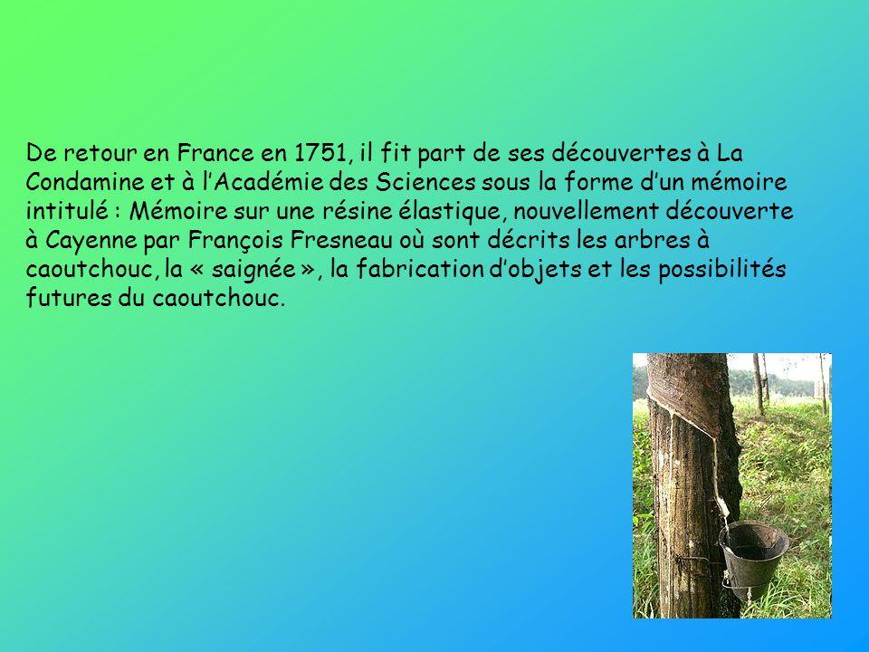 De retour en France en 1751, il fit part de ses découvertes à La Condamine et à l'Académie des Sciences sous la forme d'un mémoire intitulé : Mémoire sur une résine élastique, nouvellement découverte à Cayenne par François Fresneau où sont décrits les arbres à caoutchouc, la « saignée », la fabrication d'objets et les possibilités futures du caoutchouc.