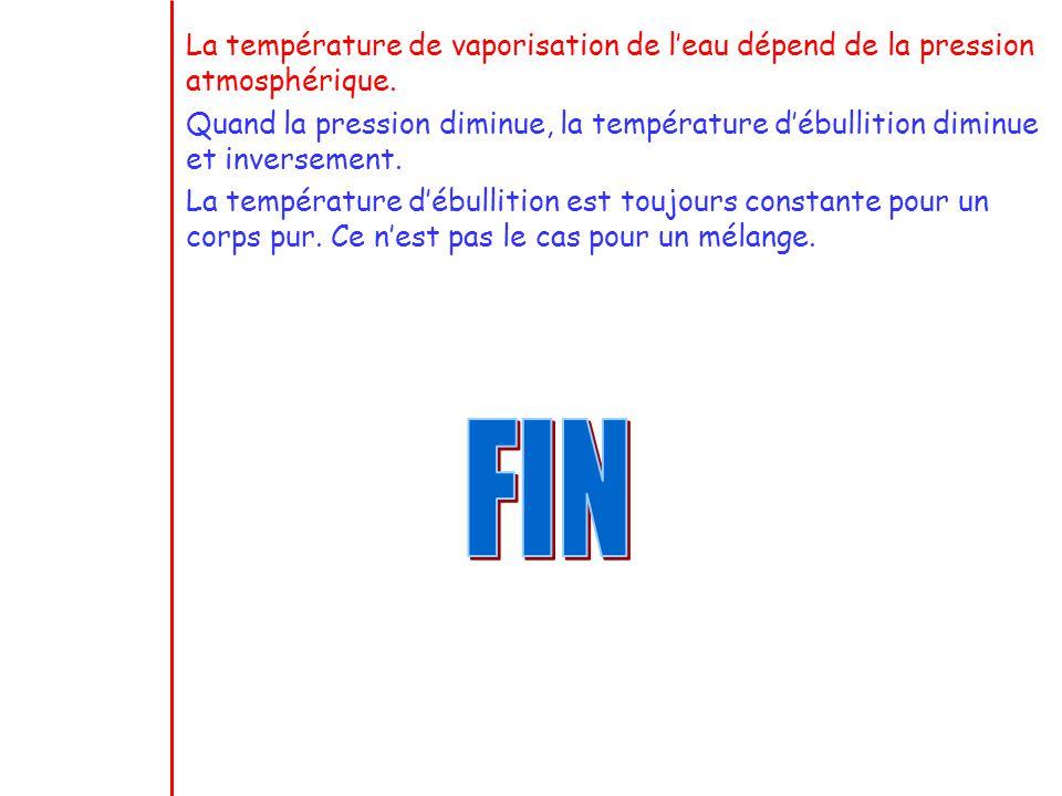 La température de vaporisation de l'eau dépend de la pression atmosphérique.