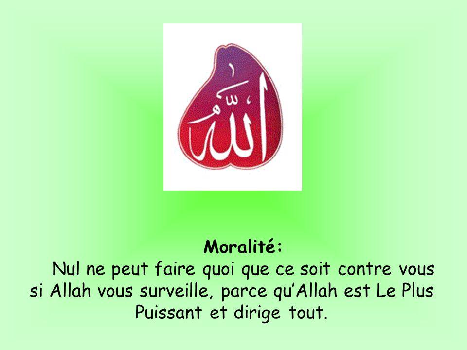 Moralité:Nul ne peut faire quoi que ce soit contre vous si Allah vous surveille, parce qu'Allah est Le Plus Puissant et dirige tout.