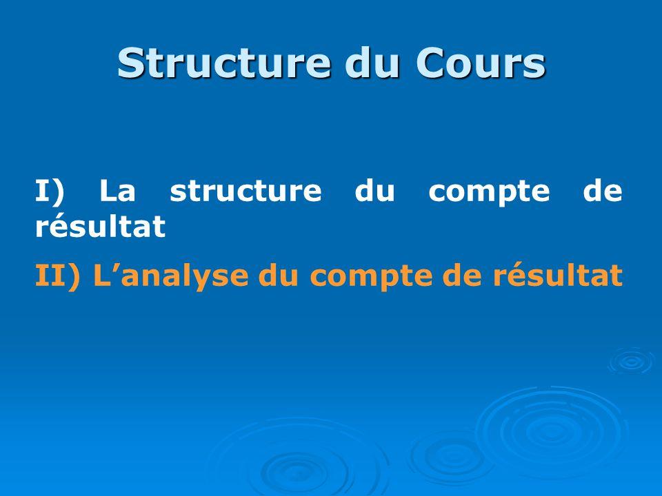 Structure du Cours I) La structure du compte de résultat