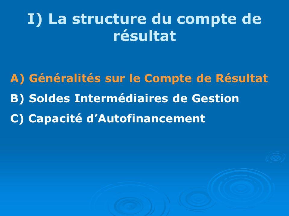 I) La structure du compte de résultat