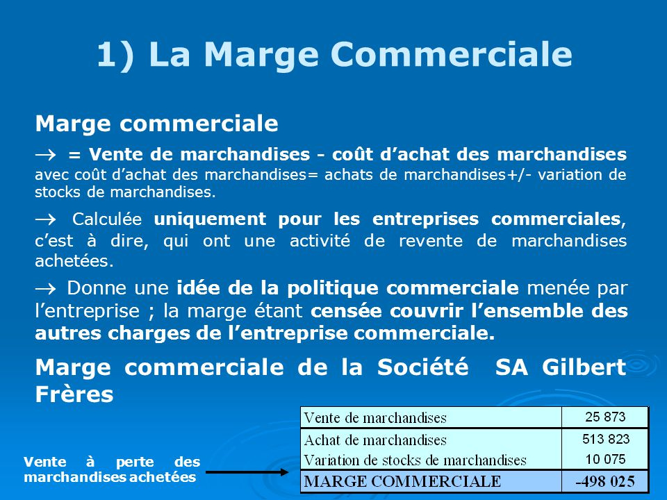 1) La Marge Commerciale Marge commerciale