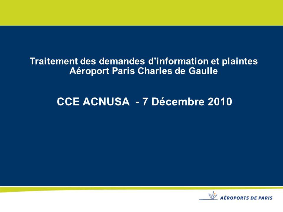 Traitement des demandes d'information et plaintes Aéroport Paris Charles de Gaulle