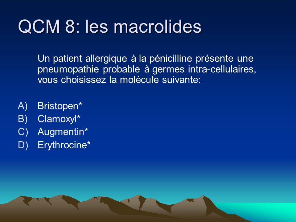 QCM 8: les macrolides