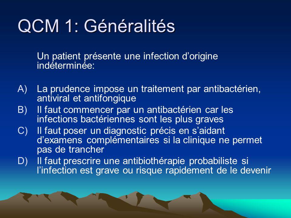QCM 1: Généralités Un patient présente une infection d'origine indéterminée: