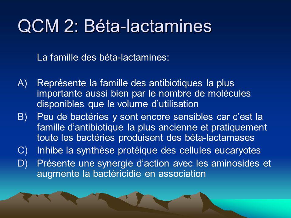 QCM 2: Béta-lactamines La famille des béta-lactamines: