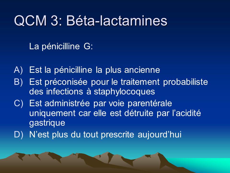 QCM 3: Béta-lactamines La pénicilline G: