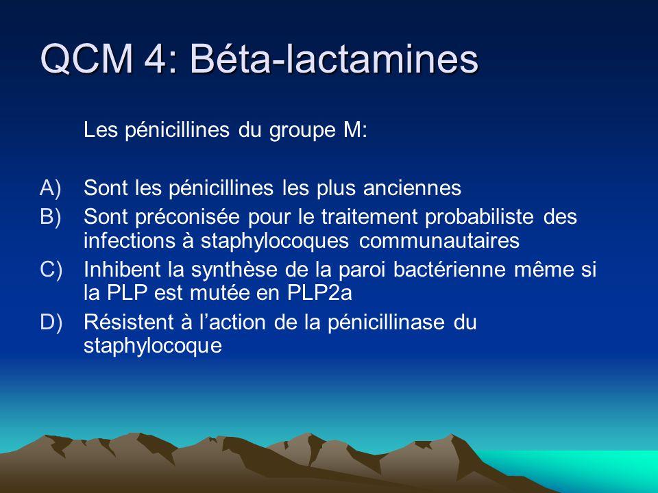 QCM 4: Béta-lactamines Les pénicillines du groupe M:
