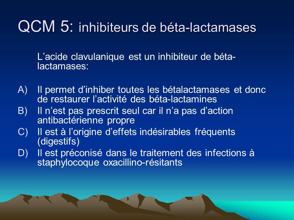 QCM 5: inhibiteurs de béta-lactamases