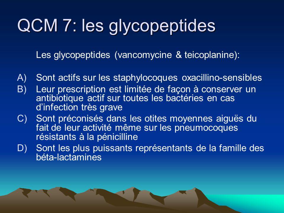 QCM 7: les glycopeptides