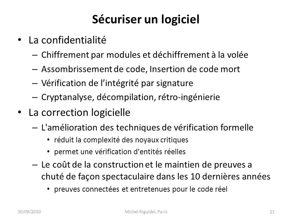 Sécuriser un logiciel La confidentialité La correction logicielle