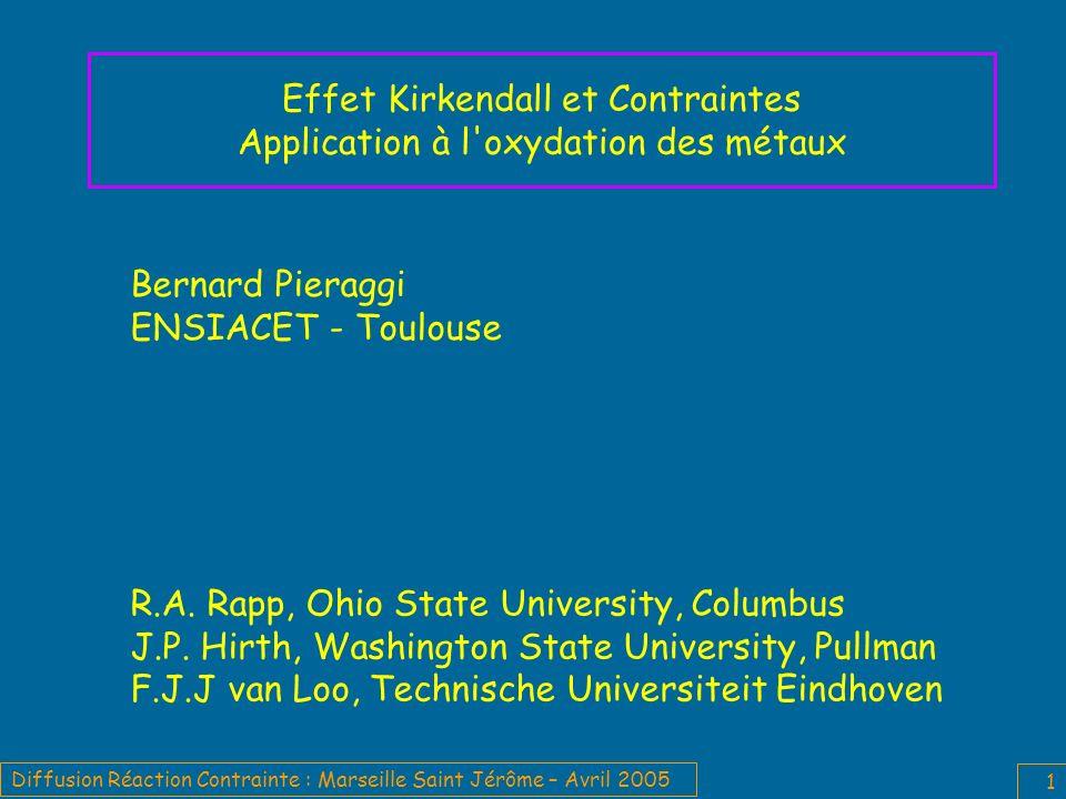 Effet Kirkendall et Contraintes Application à l oxydation des métaux