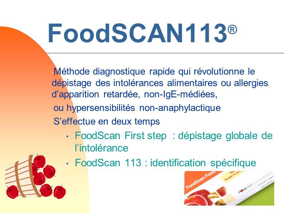 FoodSCAN113® FoodScan First step : dépistage globale de l'intolérance