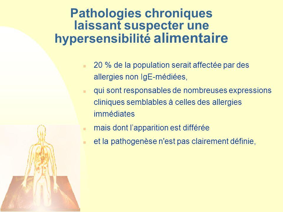 Pathologies chroniques laissant suspecter une hypersensibilité alimentaire