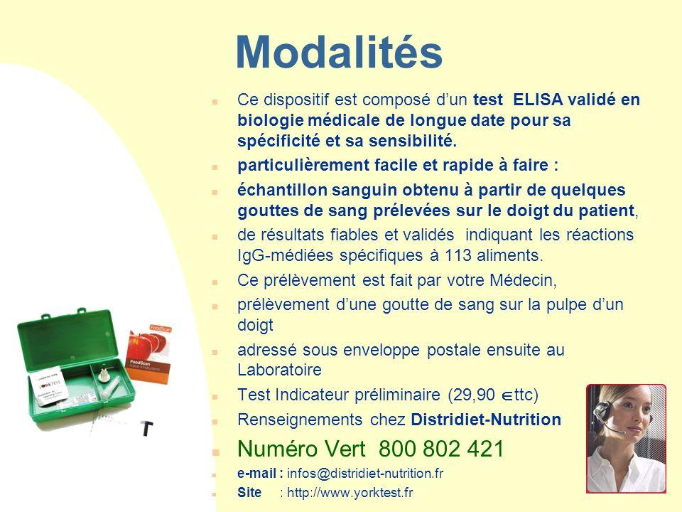 Modalités Ce dispositif est composé d'un test ELISA validé en biologie médicale de longue date pour sa spécificité et sa sensibilité.