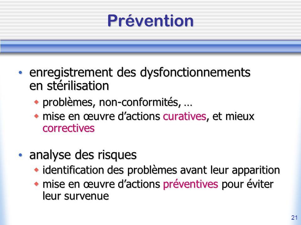 Prévention enregistrement des dysfonctionnements en stérilisation