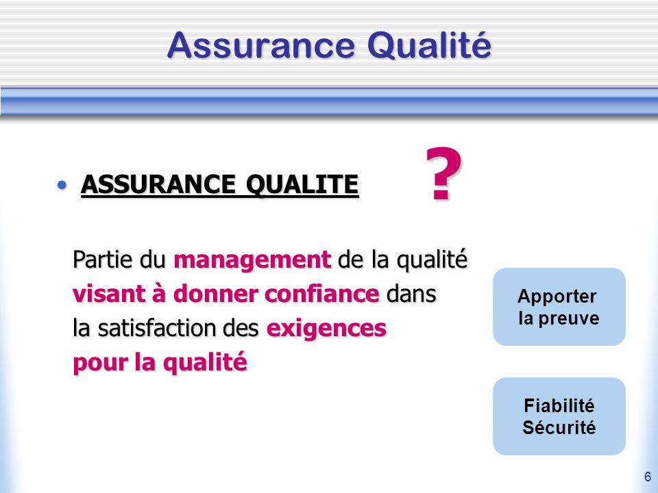 Assurance Qualité ASSURANCE QUALITE