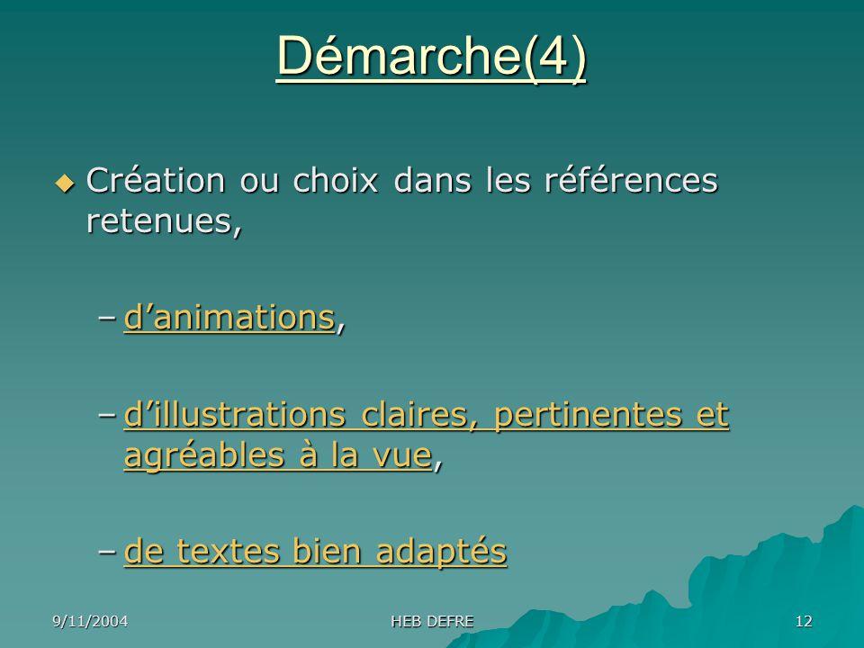 Démarche(4) Création ou choix dans les références retenues,