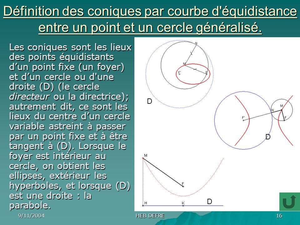 Définition des coniques par courbe d équidistance entre un point et un cercle généralisé.