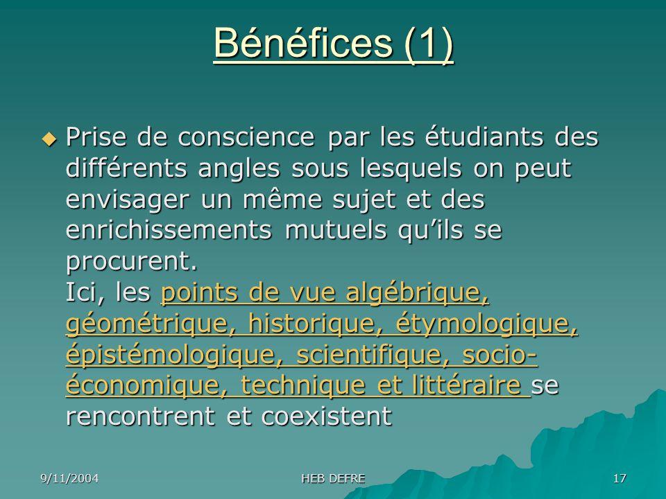 Bénéfices (1)