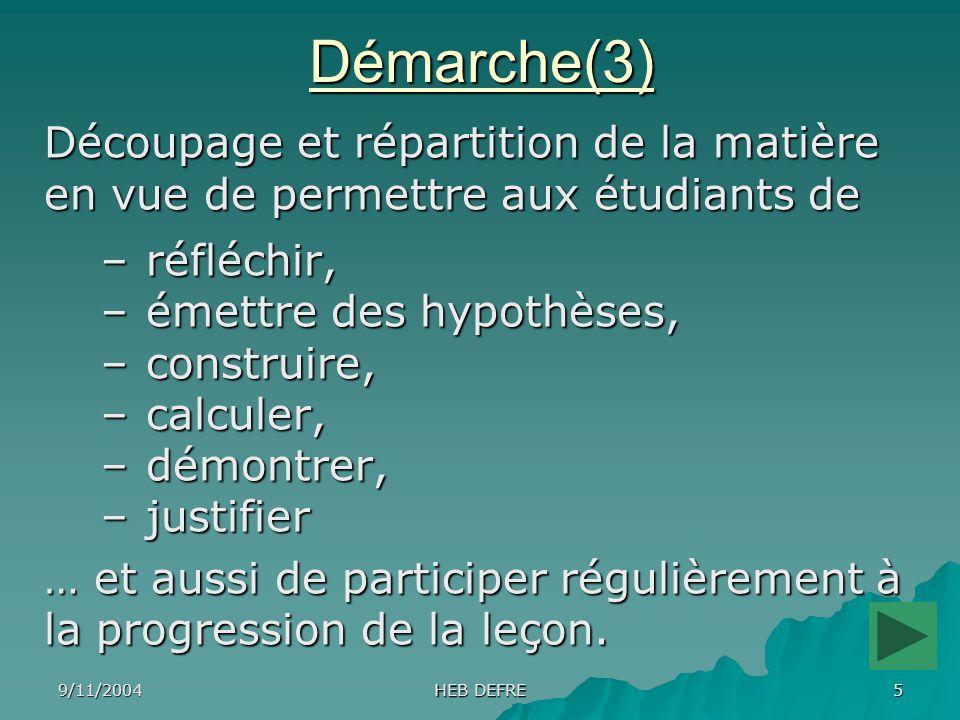 Démarche(3) Découpage et répartition de la matière en vue de permettre aux étudiants de. réfléchir,