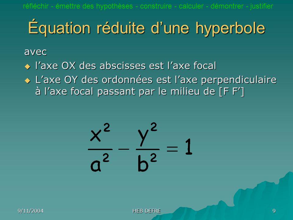 Équation réduite d'une hyperbole