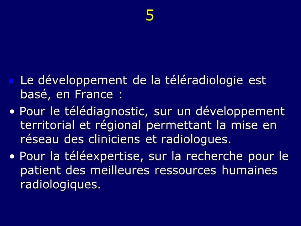 5 Le développement de la téléradiologie est basé, en France :