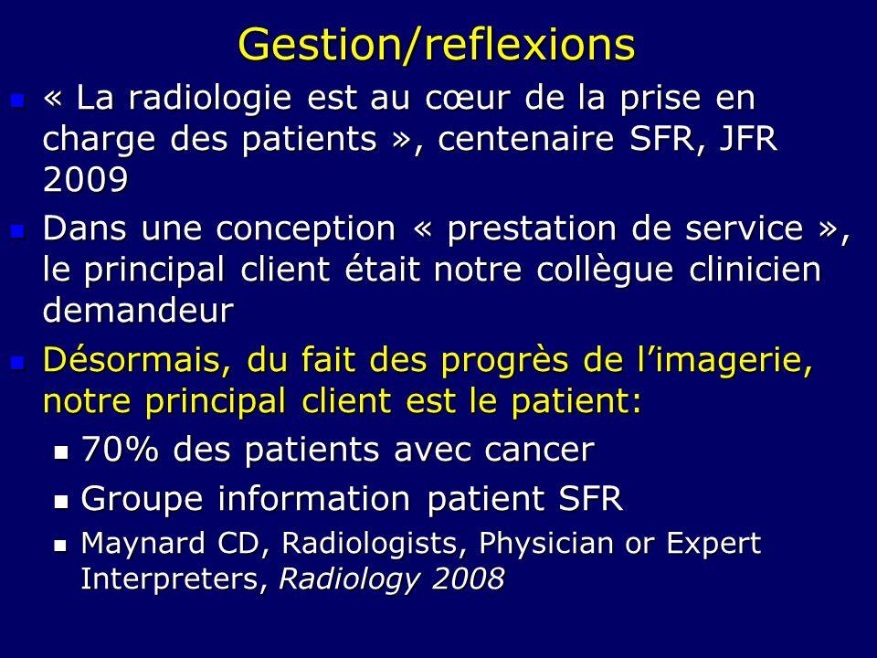Gestion/reflexions« La radiologie est au cœur de la prise en charge des patients », centenaire SFR, JFR 2009.