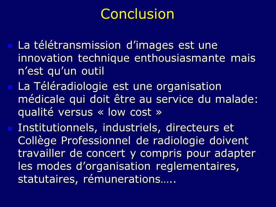 ConclusionLa télétransmission d'images est une innovation technique enthousiasmante mais n'est qu'un outil.