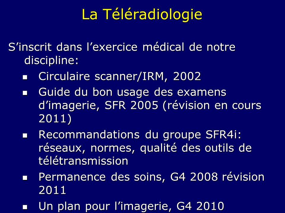 La TéléradiologieS'inscrit dans l'exercice médical de notre discipline: Circulaire scanner/IRM, 2002.