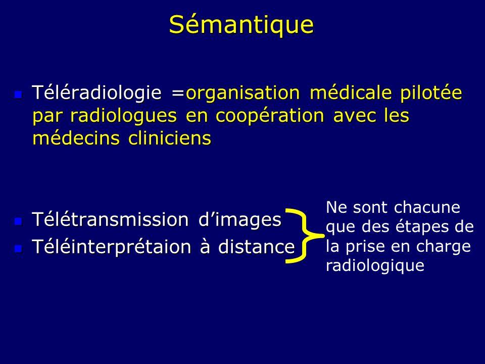 SémantiqueTéléradiologie =organisation médicale pilotée par radiologues en coopération avec les médecins cliniciens.