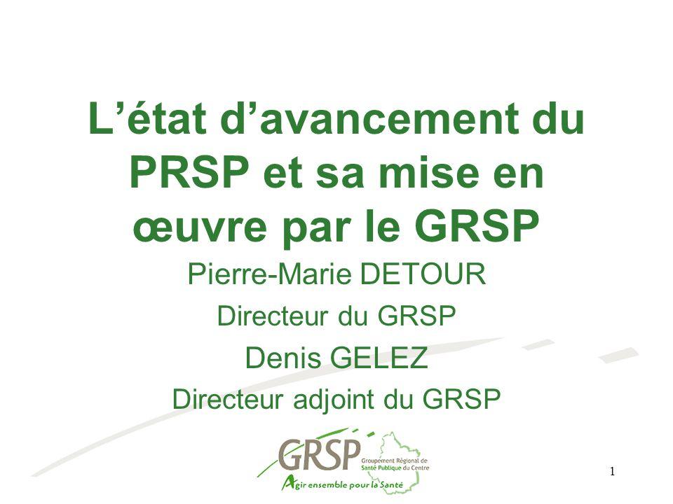 L'état d'avancement du PRSP et sa mise en œuvre par le GRSP