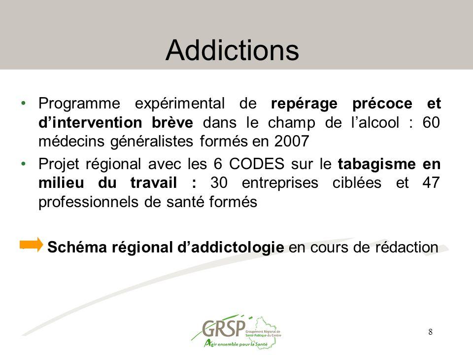 Addictions Programme expérimental de repérage précoce et d'intervention brève dans le champ de l'alcool : 60 médecins généralistes formés en 2007.
