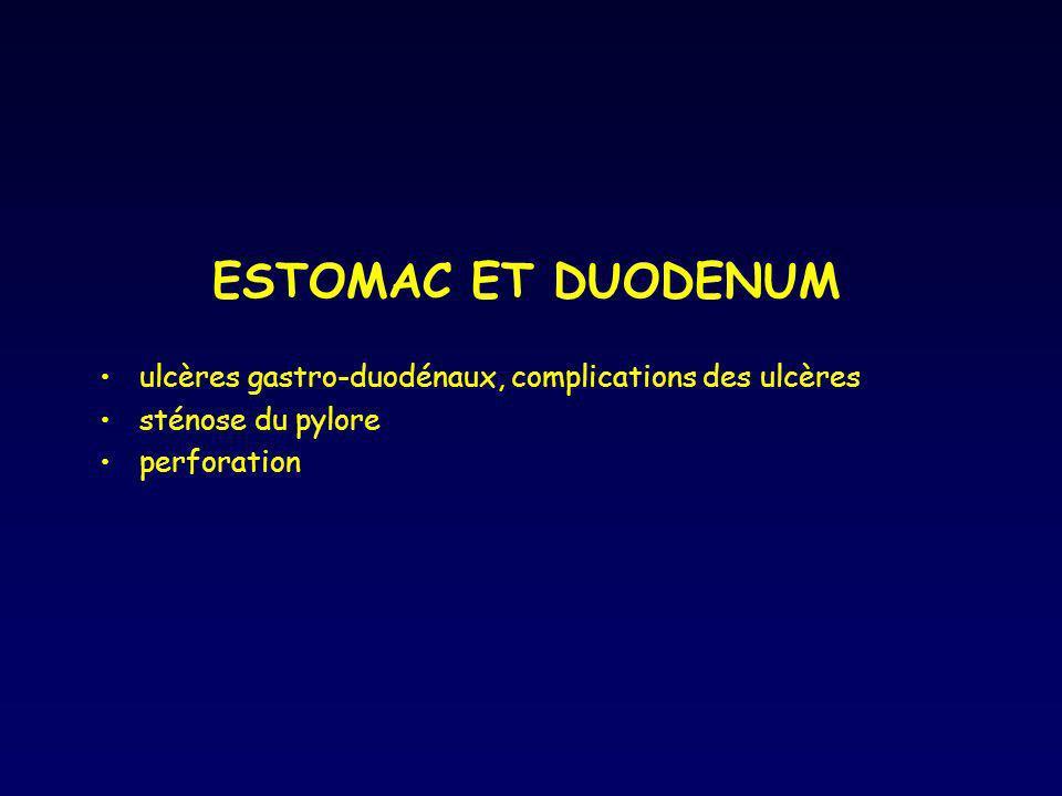 ESTOMAC ET DUODENUMulcères gastro-duodénaux, complications des ulcères.