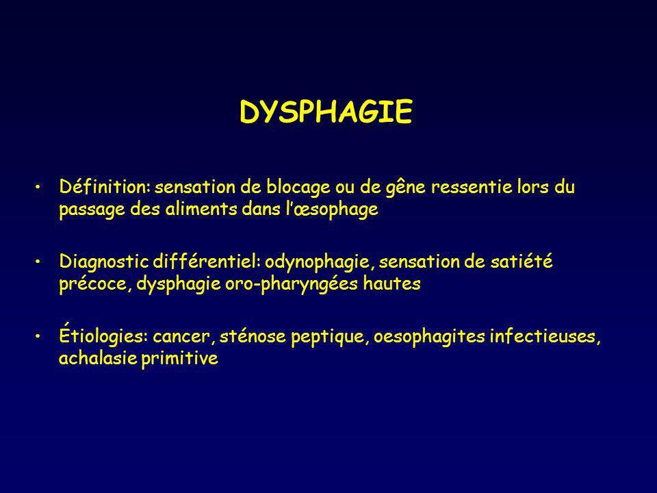 DYSPHAGIE Définition: sensation de blocage ou de gêne ressentie lors du passage des aliments dans l'œsophage.