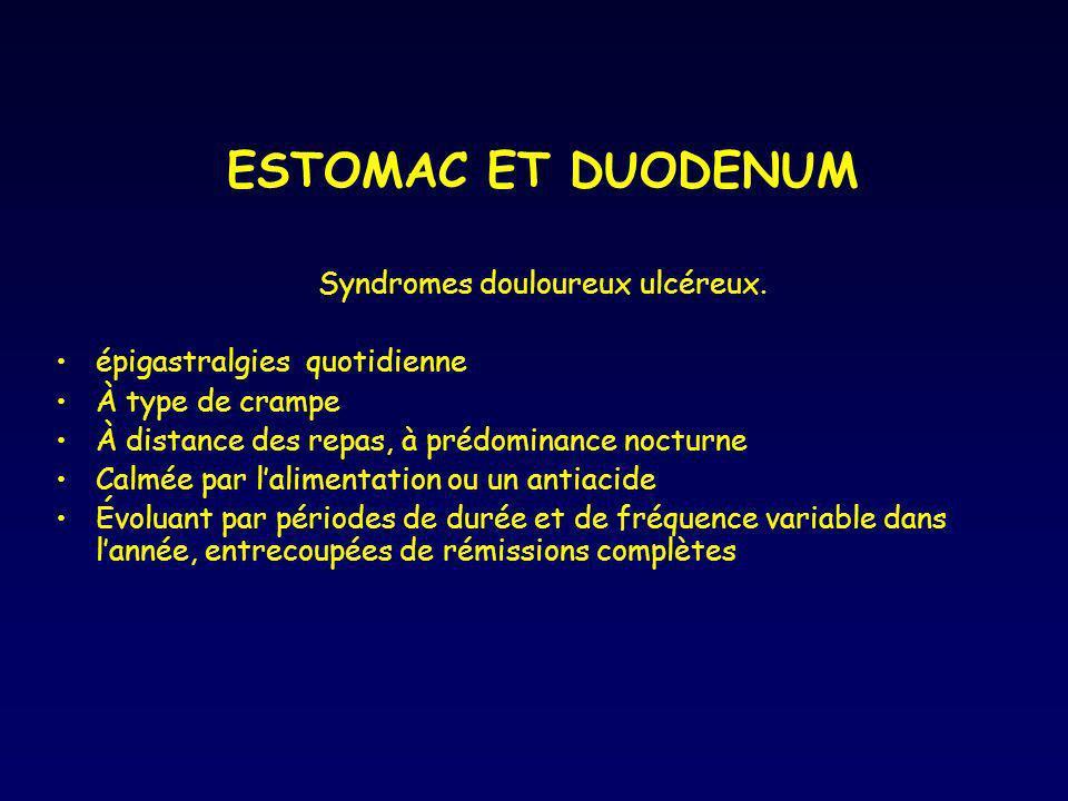 Syndromes douloureux ulcéreux.