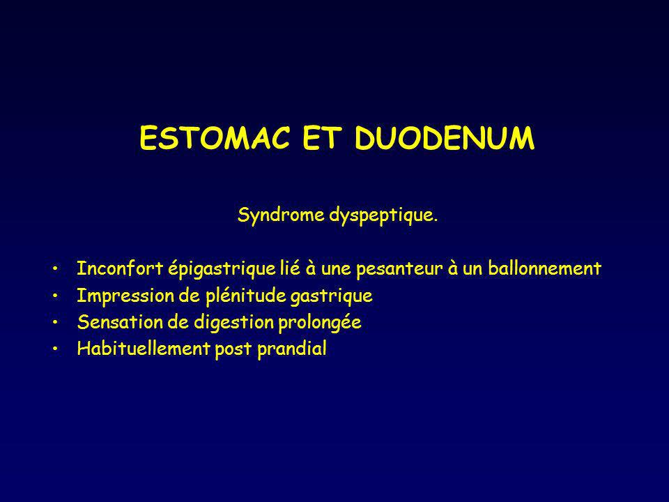 ESTOMAC ET DUODENUM Syndrome dyspeptique.