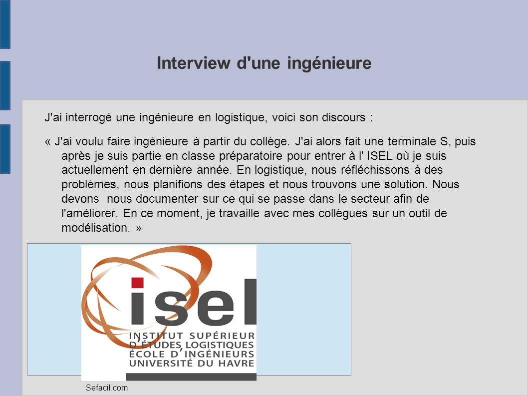 Interview d une ingénieure