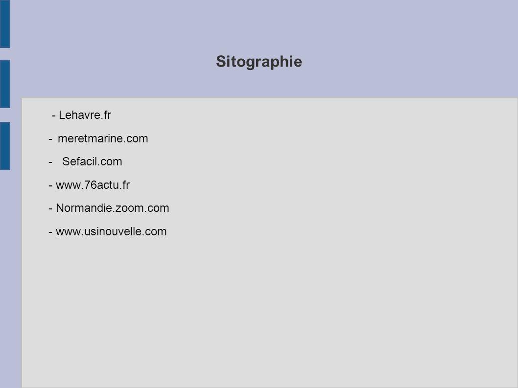 Sitographie - Lehavre.fr - meretmarine.com - Sefacil.com